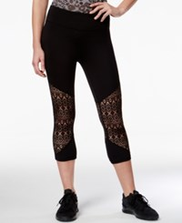 Material Girl Active Juniors' Lace Inset Cropped Leggings Only At Macy's Noir