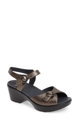Dansko Women's June Platform Sandal Pewter Leather