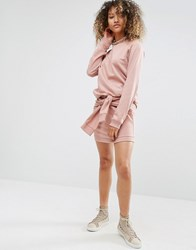 Daisy Street Sweat Mini Skirt With Tie Front Co Ord Pink