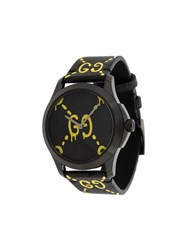 Guccighost G Timeless Watch Leather Stainless Steel Black