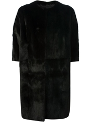 Fendi Fur Cocoon Coat Black