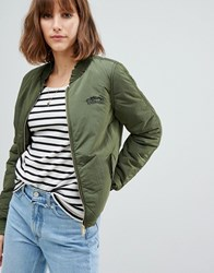 Maison Scotch Bomber With Rouched Sleeves Green