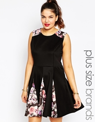 Club L Plus Size Skater Dress With Floral Inserts Blackmulti