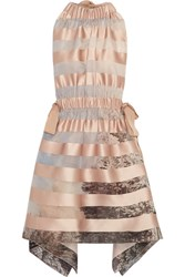 Fendi Tie Back Striped Satin Mini Dress Pastel Pink