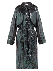 Christopher Kane Double Breasted Iridescent Chiffon Trench Coat Black Multi