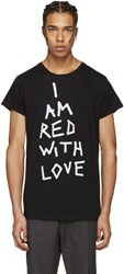 Ann Demeulemeester Black I Am Red With Love T Shirt