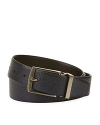 Giorgio Armani Grained Calf Leather Belt Navy