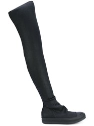Rick Owens Drkshdw Stocking Sneak Boots Women Cotton Leather Spandex Elastane Rubber 36 Black
