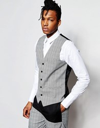 Rogues Of London Prince Of Wales Check Vest In Skinny Fit Gray
