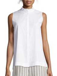 Lafayette 148 New York Maggie Italian Stretch Cotton Ruffle Blouse