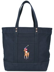 Polo Ralph Lauren Embroidered Logo Tote Bag Blue