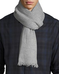 Neiman Marcus Lightweight Cashmere Scarf With Side Tipping Gray Pattern