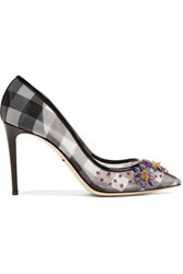 Dolce And Gabbana Embellished Checked Mesh Pumps Black
