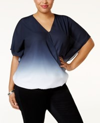 Inc International Concepts Plus Size Butterfly Sleeve Ombre Top Only At Macy' Deep Twilight