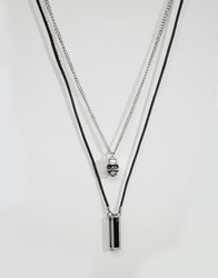 Icon Brand Skull And Pendant Necklace Pack Black