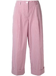 P.A.R.O.S.H. Cropped Pinstripe Flare Trousers Women Cotton S Red