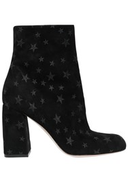 Red Valentino 90Mm Glitter Star Suede Ankle Boots