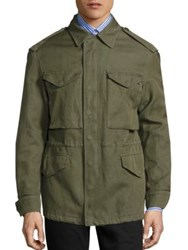 Burberry Tumbled Ramie Cotton Twill Field Jacket Military Green