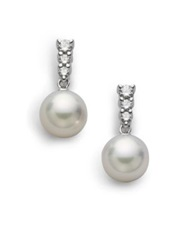 Mikimoto Morning Dew 8Mm White Cultured Akoya Pearl Diamond And 18K White Gold Drop Earrings