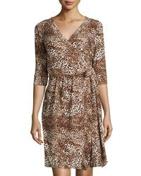 Melissa Masse Micro Leopard Print 3 4 Sleeve Wrap Dress