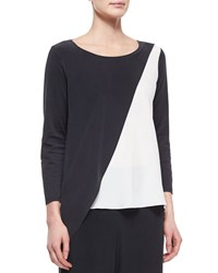 Go Silk Spliced Asymmetric Silk Tunic Petite