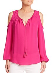 Elie Tahari Cathy Silk Cold Shoulder Blouse Waterfall