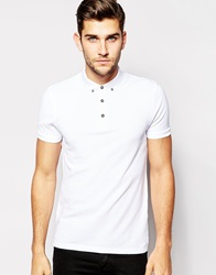 Asos Polo Shirt In White Pique With Button Down Collar
