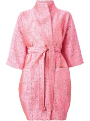 Gianluca Capannolo Three Quarter Sleeve Belted Coat Pink And Purple