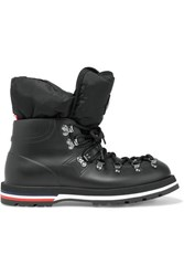 Moncler Inaya Shell Trimmed Rubber Ankle Boots Black