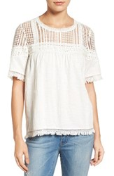 Caslonr Women's Caslon Fringed Lace And Knit Tee Ivory Cloud