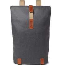 Brooks England Pickwick Medium Leather Trimmed Cotton Canvas Backpack Anthracite