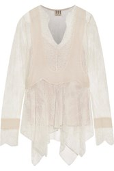 Haute Hippie Pintucked Chiffon Paneled Lace Blouse Ivory