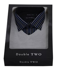 Double Two Men's Shirt And Jumper Set Grey