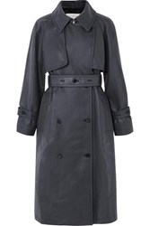 Golden Goose Masami Belted Faux Leather Trench Coat Navy