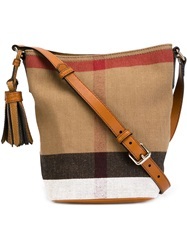 Burberry Check Canvas Crossbody Bag Brown