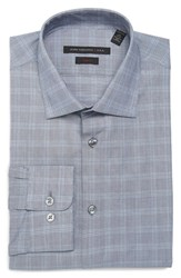 John Varvatos Men's Big And Tall Star Usa Soho Slim Fit Stretch Plaid Dress Shirt Grey