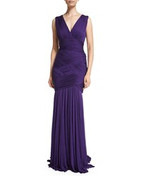 Halston V Neck Ruched Bandage Gown Purple
