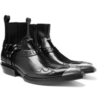 Balenciaga Santiag Metal Tipped Leather Boots Black