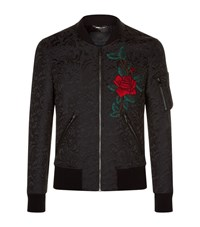 Dolce And Gabbana Baroque Embroidered Bomber Jacket Male Black