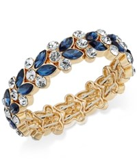 Charter Club Gold Tone Blue And Clear Crystal Stretch Bracelet Only At Macy's