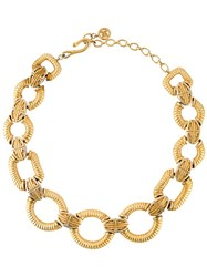 Givenchy Vintage Geometric Link Necklace Metallic