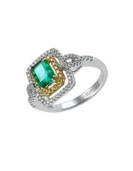 Effy Brasilica 14Kt. Yellow And White Gold Emerald Diamond Ring Emerald Two Tone Gold