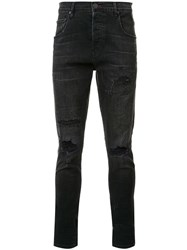 En Noir Distressed Skinny Jeans Black