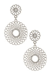 Spring Street Double Filigree Circle Drop Earrings Metallic