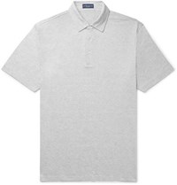 Peter Millar Excursionist Flex Space Dyed Stretch Cotton And Modal Blend Polo Shirt Light Gray
