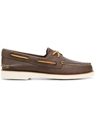 Sperry Top Sider Contrast Stitched Boat Shoes Brown