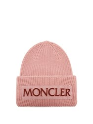 Moncler Velvet Logo Wool Beanie Hat Light Pink