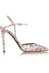 Tabitha Simmons Valentina Floral Print Leather Pumps Pink