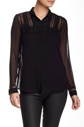 Gerard Darel Lace Trim Silk Blouse Black
