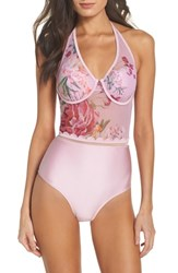 Ted Baker London Serenity Mesh One Piece Swimsuit Pale Pink